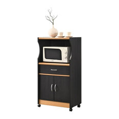 Hodedah Microwave Contemporary Wooden Kitchen Cart in Black-Beige Finish