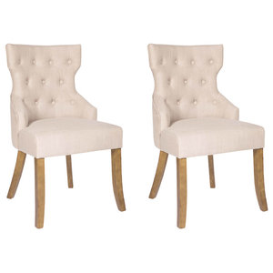 Coco Linen Dining Chairs, Set of 2, Oak Legs