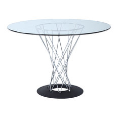 Modern Contemporary Urban Design Kitchen Round Dining Table, Clear, Glass Metal