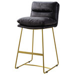 Benjara - Leatherette Counter Height Chair With Metal Sled Base, Black/Gold - Leatherette Counter Height Chair with Metal Sled Base, Black and Gold Pull up comfort and style to your home with this Counter Height Chair. The horizontal tufted back and seat are padded with leather which adds to its appeal and provides the utmost comfort. The gold metal sled base and supportive crossbar where you can rest your feet with floor gliders that helps to protect from scratching.