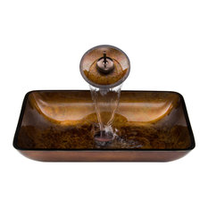 Rectangular Russet Glass Vessel Sink and Waterfall Faucet Set, Oil Rubbed Bronze