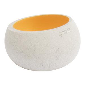 Gone's Brut Concrete Tea Light Holder, Cream Gold, Small