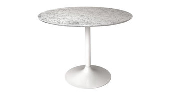 Gensifer marble or granite round table kitchen, dining table with white retro ba