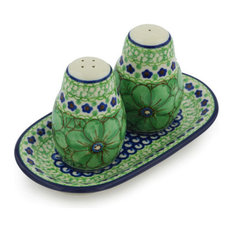 "Polmedia Polish Pottery 7"" Stoneware Salt And Pepper Set"