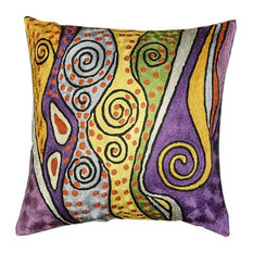 Klimt Accent Pillow Cover Purple Silk Hand Embroidered Art Silk 18x18""