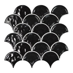 "12""x12"" Glazed Ceramic Fan Mosaic Tile, Black"