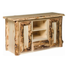 Rustic Aspen TV Stand With Cabinet And Shelves