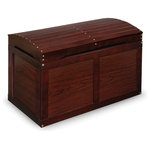 Badger Basket - Hardwood Barrel Top Toy Chest, Cherry - Badger Basket's Barrel Top Toy Chest features attractive styling with a treasure chest look - perfect as a place for storing special toys and stuffed animals. Also great as easily accessible storage for blankets, linens, and bedding! Quality hardware with safety support hinge. Lid opens fully, and will also stay up in any partially open position. The safety hinge secures the lid in the open position so it won't slam shut on your child while they choose a toy for playtime. Handle slots on front and sides make it comfortable and convenient to open the lid, and prevent fingers from being pinched when closing the lid. Built to last for years. Made with solid wood, multi-layer wood, and laminated MDF. Metal hardware and hinges. Overall measurements of 31 inches L x 17 inches W x 19 inches H. Interior dimensions of 29.25 inches L x 15.5 inches D x 13.75 inches H. Inside of lid adds another 1.5 inches the storage capacity. Assembled weight: 22 pounds. All measurements approximate. Wipe clean with a lightly dampened cloth and mild detergent as needed and dry thoroughly. Adult assembly required. Illustrated assembly instructions included. Non-toxic finish. Product complies with all currently applicable safety standards and CARB ATCM standards. Product includes a limited warranty of 30 Days Parts to the original purchaser. Product may vary slightly from shown and described. Props/accessories shown are for illustration purposes only and are not included with the product. Actual color/finish may vary slightly from screen display. This item ships in its original carton which may include a product photo.