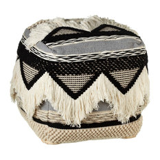 CBK Cotton Hand Woven Black And White Triangle Pouf With Fringe 150042