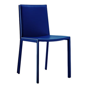 Alexia Blue Leather Chairs, Set of 2