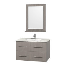 "36"" Single Bathroom Vanity, Carrera Top, Undermount Sink and 24"" Mirror"