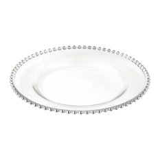 """Elegance Beaded Chargers 13"""", Set of 4, Silver"""