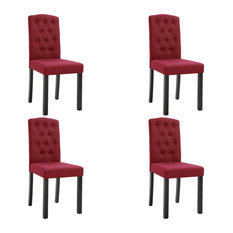 VidaXL 4x Dining Chairs Wine Red Fabric Home Office Kitchen Seating Furniture