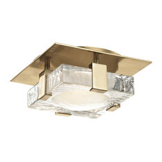 """Bourne 8"""" LED Wall/Flush Mount, Aged Brass Finish, Etched Glass"""