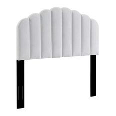 Modern Upholstered Headboard Channel Tufting King - Cal King Size White