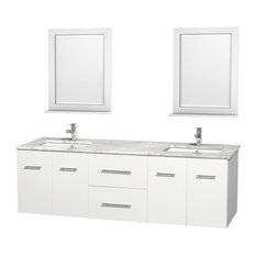 Double Bathroom Vanity Set, White, White Carrera Marble Countertop, 72""