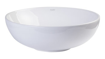 """White Round Vessel Sink, 18"""", Porcelain, Without Overflow, EAGO, BA351"""