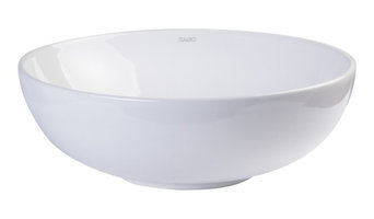 "White Round Vessel Sink, 18"", Porcelain, Without Overflow, EAGO, BA351"