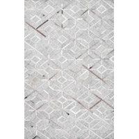 Handmade Modern Cowhide Geometric Leather/Viscose Area Rug, Gray, 9'x12'