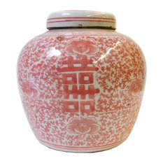 Chinese Red Pink White Double Happiness Ginger Jar