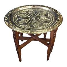 "Moroccan Table Engraved Silver Tray Top Khamsa Hand Lucky Hamsa Hand 19.5"""