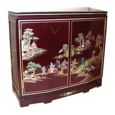 32-inch Tortoise Shell Red Oriental Cabinet