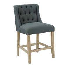 "Kate 24"" Counter Stool, Klein Charcoal Fabric With and Bronze Nailheads"