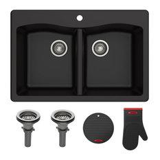 """Forteza 33"""" Drop-In Undermount Granite Composite 50/50 Kitchen Sink, Black"""