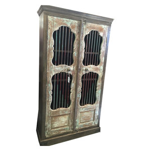 Mogul Interior - Consigned Jali Almirah Iron Bars Doors British Colonial Bookcase Armoire Cabinet - Bookcases
