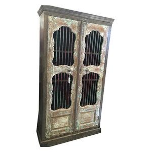 Mogul Interior - Consigned Jali Almirah Iron Bars Doors British Colonial Bookcase Armoire Cabinet - Bookcases