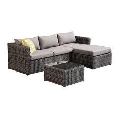 Hagen 3-Piece Outdoor Rattan Sectional Chase Set, Dark Brown, Modern Pillows