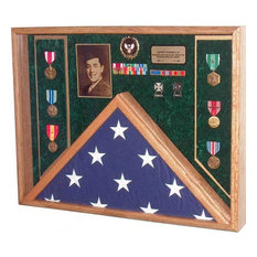 """27"""" X 21"""" Solid Oak Burial Flag and Military Medal Display Case, Navy Emblem"""