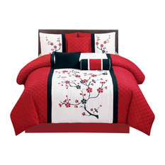 Sakura Embrodieried 7-Piece Comforter Set, Queen
