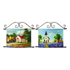 Church Handpainted Canvas Wall Art with Top and Bottom Rods, Set of 2