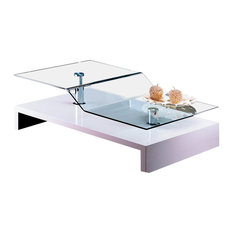 Bent Glass Coffee Table, Glossy White   Coffee Tables