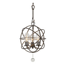 Solaris Outdoor 3 Light Bronze Sphere Chandelier