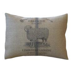 "Polkadot Apple Pillows - French Sheep Burlap Pillow, 12""x16"" - Decorative Pillows"