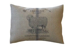 "French Sheep Burlap Pillow, 12""x16"""