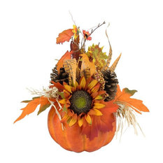 """10"""" Autumn Harvest Artificial Pumpkin with Fall Leaves and Pine Cones Decoration"""