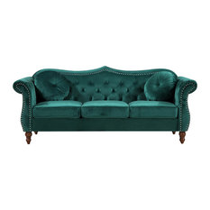 US Pride Furniture Corp.   Holder Nailhead Chesterfield Sofa, Green   Sofas