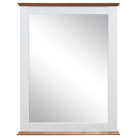 Nautical Style Wooden Mirror With Flat Base, Brown And White