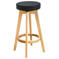 REX Natural Wood Counter Stool, Set of 4, Black