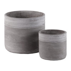 Cement Round Pots With Ribbed Banded Rim Top, Natural Finish Gray, 2-Piece Set