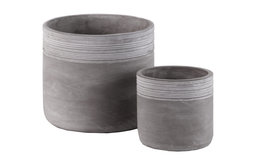 Round Cement Pot with Ribbed Banded Top, Natural Gray Finish, Set of 2