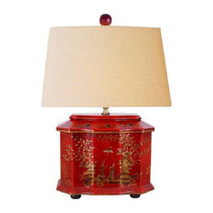 """Chinese Red Lacquer Wooden Box River Scene Table Lamp Shade and Finial 22"""""""