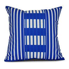 "Beach Blanket, Stripe Print Outdoor Pillow, Blue, 20""x20"""