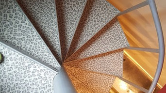 serged pie steps on metal spiral staircase