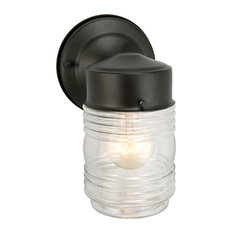 Jelly Jar 1-Light Indoor/Outdoor Wall Light, Clear Ribbed Glass, Black