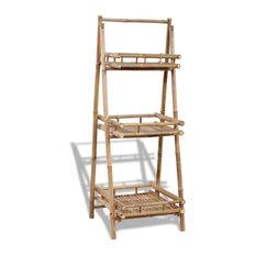 vidaXL 3-Tier Folding Bamboo Plant Rack