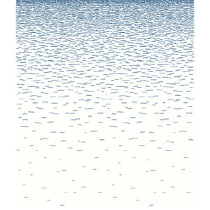Sea Side Wallpaper, White and Blue, 192x250 cm